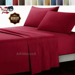 2/3/4 Pcs Bed Sheet Set Soft Pillow Case Deep Pocket Home Be