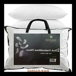 2 X Luxury Duck Feather & Down Pillows Comfortable Extra Fil