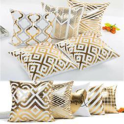 Geometric Gold Foil Printed Pillowcase Throw Sofa Cushion Co
