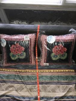 Grand Hotel Geranium NEEDLEPOINT FLOWER Throw Pillows Suzann