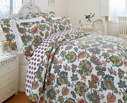 Hotel Quality Indian Tree Quilted Bedspread Throw Set and Pi