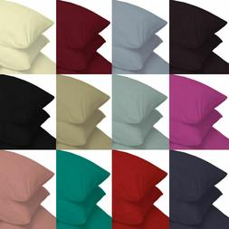 Hotel Quality Pillow Case Queen Size Solid Colors 400TC Egyp