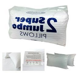 Jumbo Pillow Pair Luxury Satin Striped Pillows Hotel Bounce