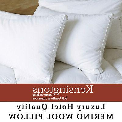New Natural Pure Merino Wool Pillow Woolmarked 1000gsm Hotel
