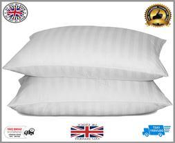Luxury Deluxe Super Jumbo Bounce Back Stripe Pillows Hotel Q