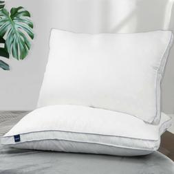 Luxury Hotel Gusseted Quilted Pillow Set of 2 Bed Pillows Si