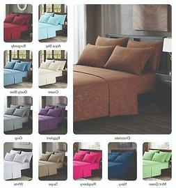 Platinum Hotel Quality Embossed King Sheet Set w/ 4 Pillow C