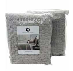 SET OF 2 Hotel Collection Speckle Cotton Grey Quilted KING P