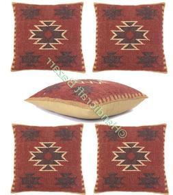 Set of 5 Pillow Case Kilim Handmade Cushion Cover Indoor Rus