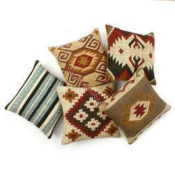 Set of 5 Pillow Case Wool Jute Indian Handmade Back Rest Sof