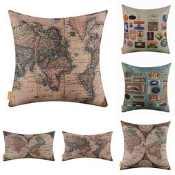 Vintage World Map Decorative Cushion Cover Throw Pillow Case